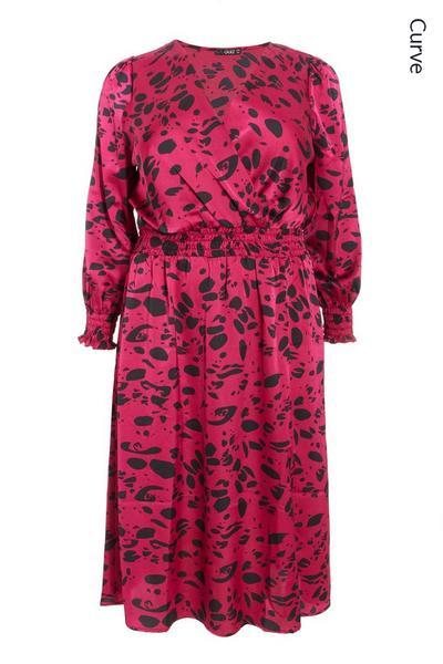 Curve Berry Satin Animal Midi Dress